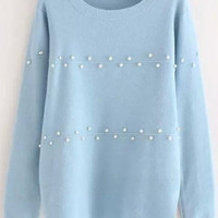 Light Blue Beaded Knit Sweater