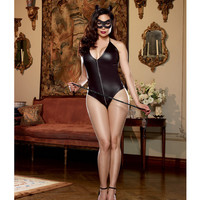 4 Pc Halter Romper W-zip Front & Attached Tail, Cat Ears Headband, Mask & Whip B Black Qn