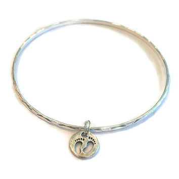 Baby Feet Charm Bracelet - Alex and Ani Inspired - Baby Feet Charm Bangle - Silver Jewelry - Stacking Bangles - Baby Jewelry - Mom to Be