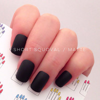 Short Squoval, 12pcs, Black Hand Painted Short Nail Tips / Press On / Stick On / Fake Nails - Glossy or Matte