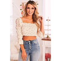 Rosy Outlook Smocked Crop Top (Ivory Floral)