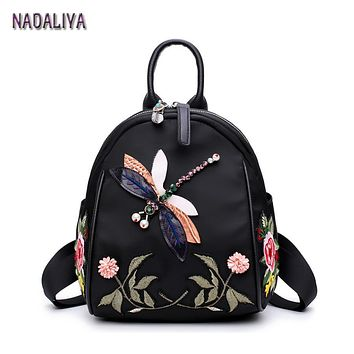 NADALIYA 2017 New Handmade Embroidery Dragonfly Lady Backpack Fashion Designer 3D Diamond Shoulder Bag Retro Female Bag