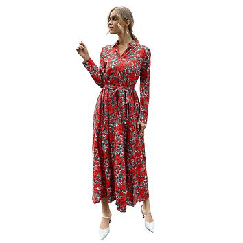 Women's Floral Printed Dress Long Sleeves Bowknot Pleated Swing Maxi Dress