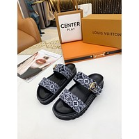 LV Louis Vuitton Women's Sandals Shoes Popular Summer Flats Slipper 0411