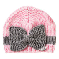 Light Pink & Gray Gray Knit Beanie