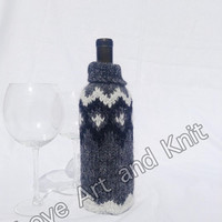 Ready to ship, wine bottle cover, Icelandic wool, lopi, bottle cover, wine cover, love wine, housewarming gift, anniversary gift