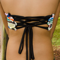 Sale- Peek-a-Boob Bandeau with coret back- Indian spring print