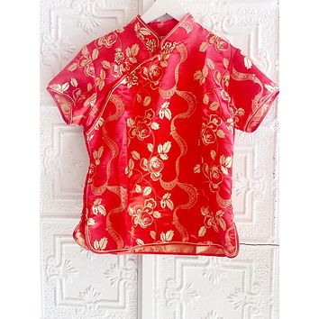 Red And Gold Asian Top