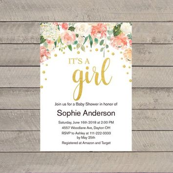 Girl Baby Shower Invitation, Floral Baby Shower Invitation, Peach Gold Baby Shower Invitation, Watercolor Baby shower Invitation Printable