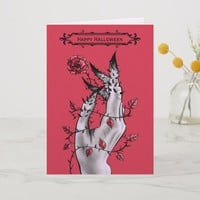 Creepy Hand With Rose And Thorns Gothic Halloween Card