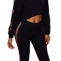 Round Neck  Blank Sweatsuits with Contrast Bands