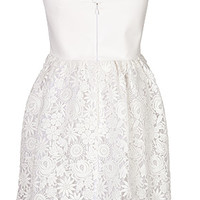 Valentino - Leather/Lace Strapless Dress