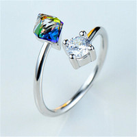 Womens Girls Silver Ring Adjustment Hight Quality Crystal Ring  Best Christmas Gift One Size Rings-95