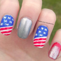 4th of July Nail Art, Stars and Stripes, Glitter, False, Fake, Acrylic, Handpainted, Press On Nail Set