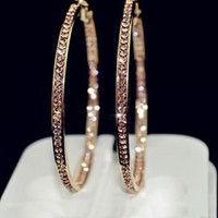 2016 TOP popular earrings With rhinestone circle earrings Simple earrings big circle gold color hoop earrings for women E005