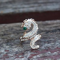 Ocean Seahorse Full Rhinestone Ring with Green Eye 301 from topsales