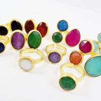 BULK 10 Mix Set of Jade Stone Single, Double & Trio Stone Rings  - Adjustable Band -  Turkish 22k Matte Gold  Plated - Lot 11