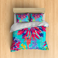 Reef Bedding- Coral Reef Bedding, Lilly Pulitzer inspired Bedding, Sea Horse Bed, Colorful Bedding, Sea Bedding, Ocean Bedding, Cute Bedding