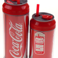 Coca Cola Travel Cups Set 2 Coke Can Pattern 12 & 16 oz Double Wall Spill Proof