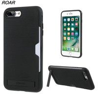 For iPhone 8 Plus Case ROAR Awesome Series PC + TPU Combo Card Holder Kickstand Phone Case for iPhone 8 Plus / 7 Plus 5.5 inch