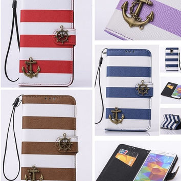 """NEW Fashion Anchor Stripes Luxury PU Leather Wallet Card Skin Phone Case Bag Cover for Apple iPhone 6 , 4.7"""" / Apple iPhone 6 Plus ,5.5""""/ Samsung / LG / HTC = 1704246084"""