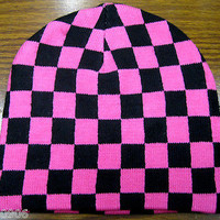 Pink and Black Checker Checkered Winter Knitted Skull Beanie Ski Cap-New!