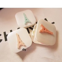LIUSVENTINA DIY resin beautiful tower contact lens case for eyes contact lenses box for glasses spectacle case