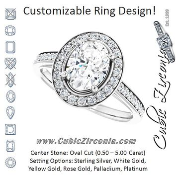 Cubic Zirconia Engagement Ring- The Natascha Eva (Customizable Cathedral-raised Oval Cut Halo-and-Accented Band Design)