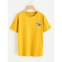 Graphic Embroidered Tee Ginger