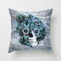 Blue grunge ohm skull Throw Pillow by Kristy Patterson Design