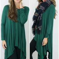 Mountain Breeze Hunter Green Trapeze Tunic with Handkerchief Hem