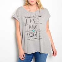 Plus Size LIVE & LOVE Graphic Print & Sheer Lace Back Tee in Gray & Ivory