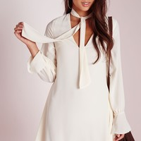 Missguided - Crepe Pussybow Swing Dress Ivory