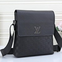 Louis Vuitton Men Leather Office Bag Satchel Shoulder Bag Crossbody