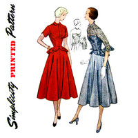 1950s Dress Pattern Uncut Simplicity 1250 3398 Strapless Full Skirt Evening Dress & Jacket Lace Overlay Peplum Womens Vintage Sewing Pattern