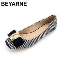 BEYARNE Women Shoes Woman Ballet Flats Plaid Cloth Shoe Bowknot Comfortable Square head Casual Shoes Slip On Women's Flat Shoes