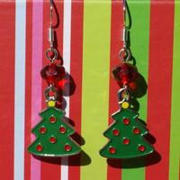 Adorable Christmas Tree Enamel Earrings with Faceted Red Stone Accent