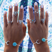 6PCS Vintage Beach Punk Elephant Moon Arrow Ring Set Ethnic Carved Antique Silver Boho Finger Ring Knuckle Charm anillos