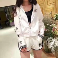 """Boy London"" Women Fashion Casual Letter Eagle Print Vest Shorts Long Sleeve Zip Cardigan Hooded Coat Sun Protection Set Three-Piece Sportswear"