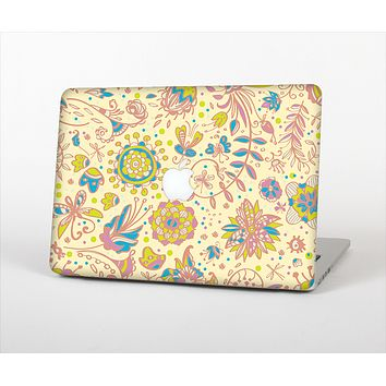 The Subtle Yellow & Pink Sketched Lace Patterns v21 Skin Set for the Apple MacBook Air 11""