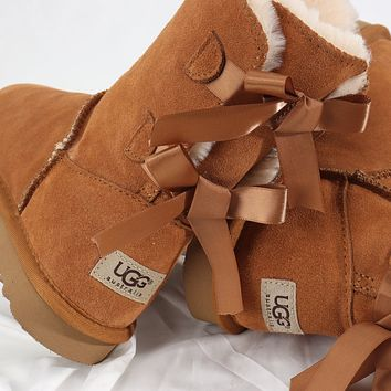 UGG Bow Leather Shoes Boots Winter Half Boots Boots Shoes-9