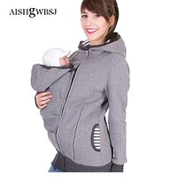 AISHGWBSJ Baby Carrier Jacket Kangaroo Outerwear Hoodies Sweatshirts For Pregnant Women Pregnancy Baby Wearing Coat Female PL191