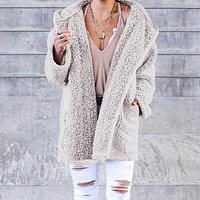 Outerwear & Coats Jackets Ladies Soft Teddy Sherpa Fleece Hooded Jumper Hoody With Pocket coats and jackets women 2018Sep18