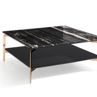 Modrest Dorian Modern Black Marble & Ebony Square Coffee Table