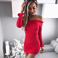 Simple Solid Color Off Shoulder Long Sleeve Bodycon Knit Mini Dress