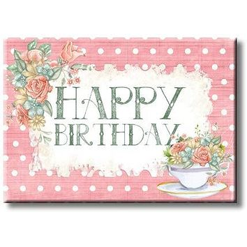 Happy Birthday Pink Flowers Picture on Stretched Canvas, Wall Art Décor, Ready to Hang