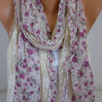 ON SALE - Floral Scarf Shawl Scarf Women Scarf - Cowl Scarf with Lace - Multicolor