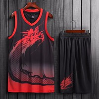 Men Basketball Jersey Sets Uniforms Sports Kit Clothes Team Basketball Jerseys Shirts Suit Breathable Quick Dry Print Customized