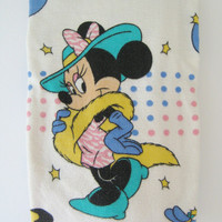 RARE Vintage Disney Minnie Mouse Flannel Twin Size Fitted Bed Sheet Pure Cotton Clean Kids Bedding Girl Bedding Used Made in Hong Kong
