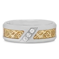 1/10 ct. tw. Diamond Men's Two-Tone Tribal Inlay Band in Stainless Steel, 8MM - Rings - Men's Jewelry - Jewelry - Helzberg Diamonds